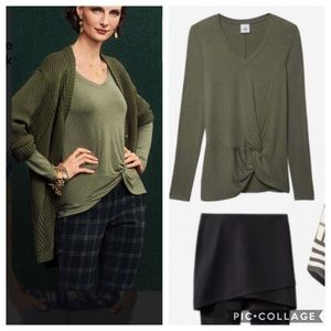 NWT CAbi Sage Green Reveal Knotted Long sleeve Tee